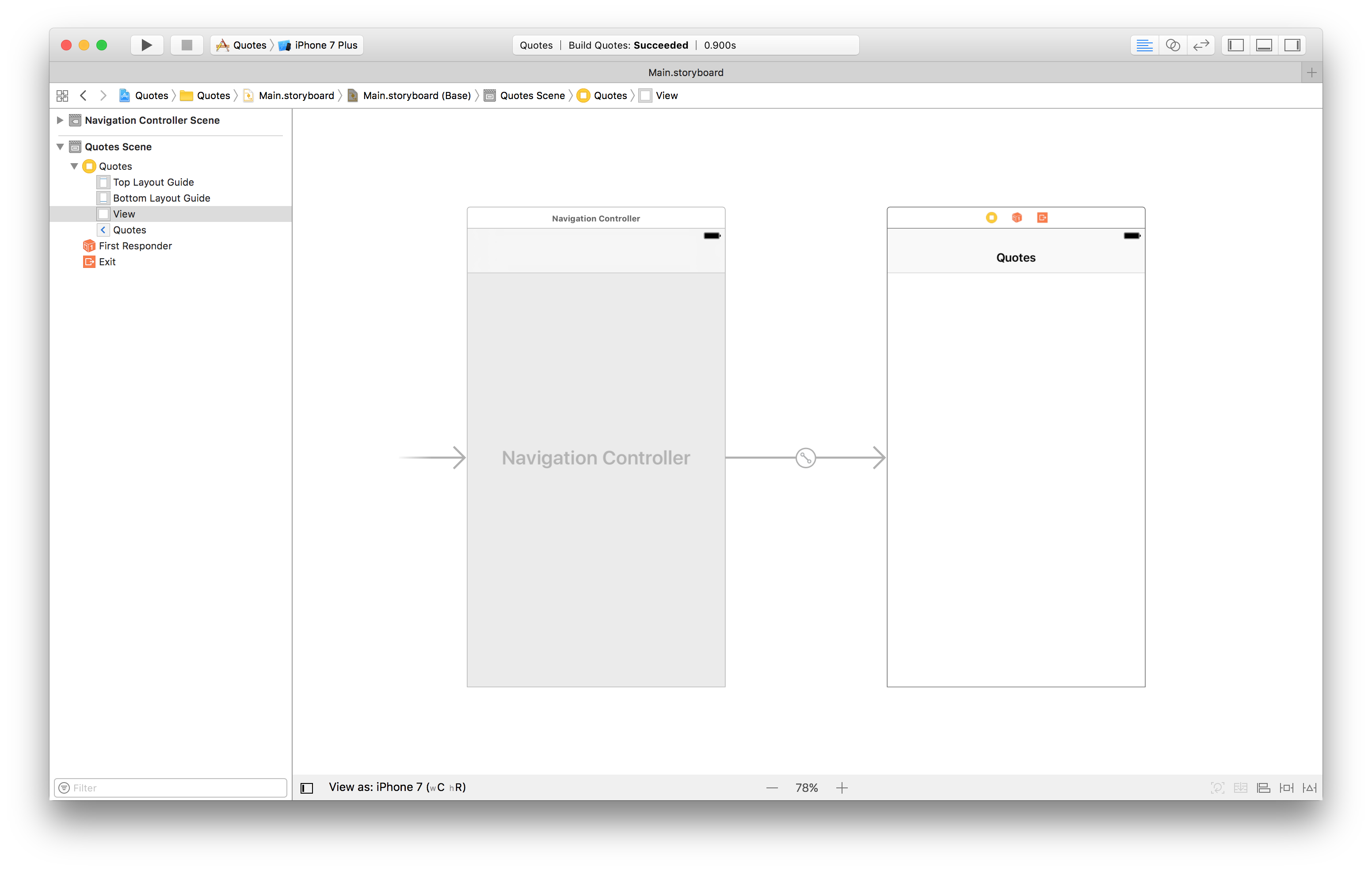 app flow with a navigation controller in the storyboard