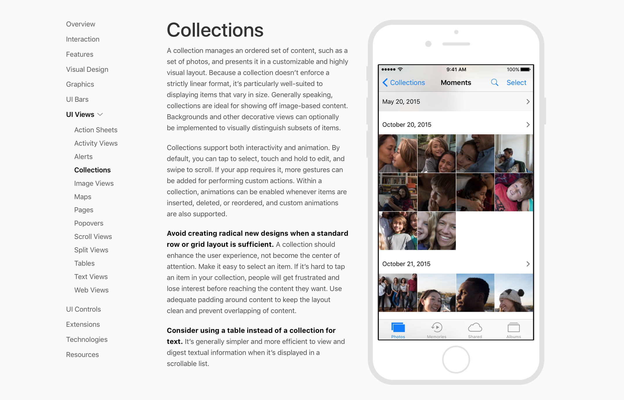 collection views human interface guidelines