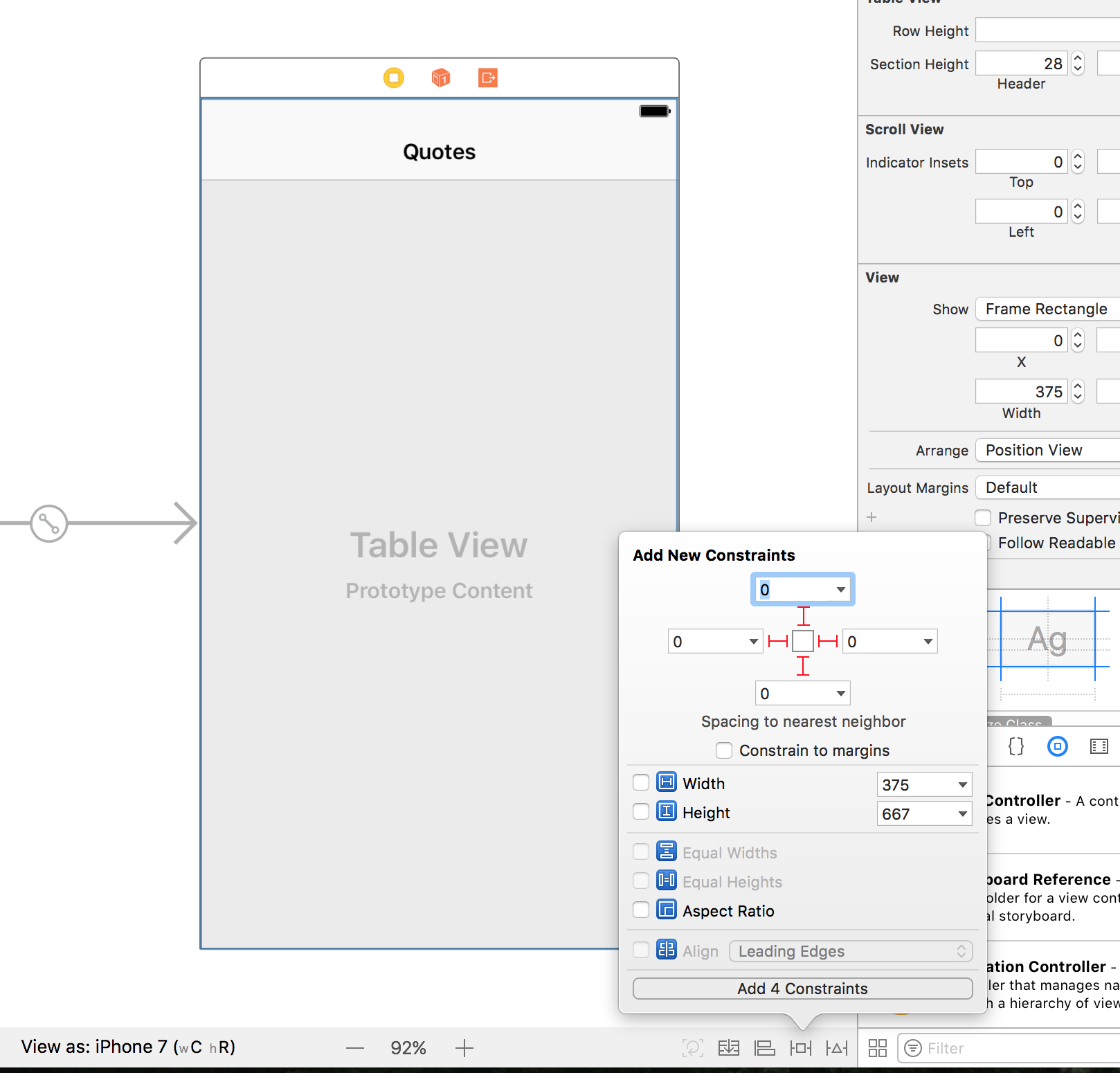 constraints to pin the table view to the edges of the view controller