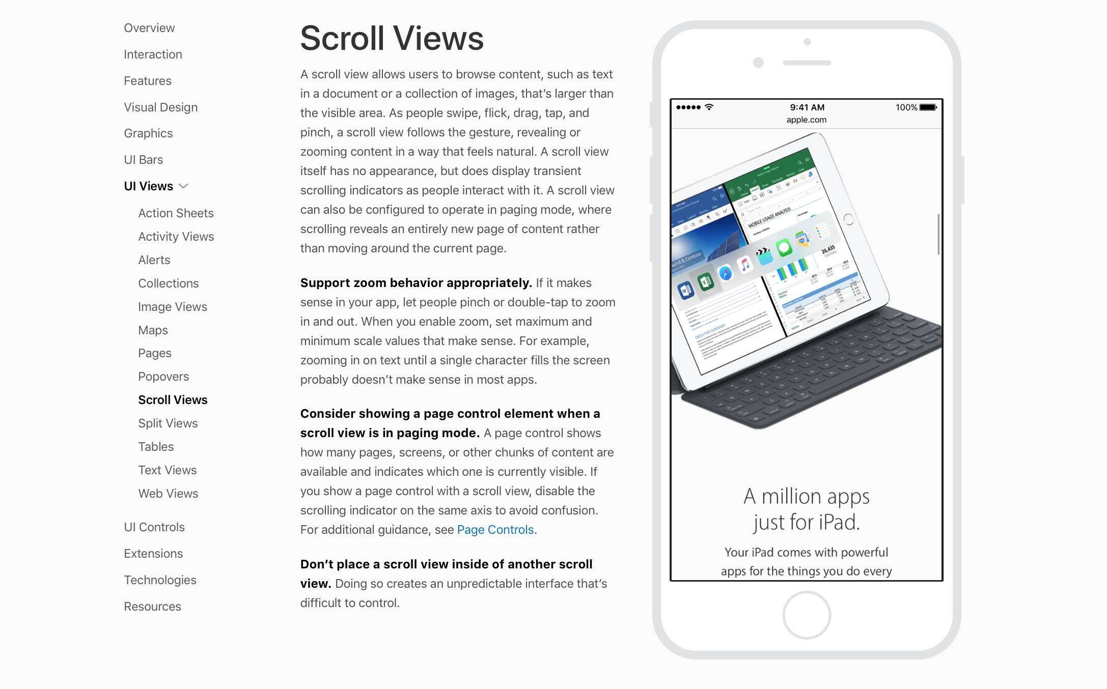 scroll views human interface guidelines