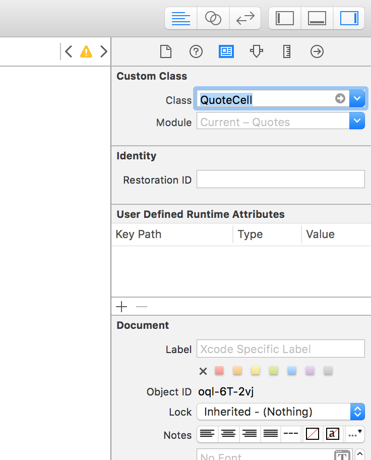 setting the cell prototype class in interface builder