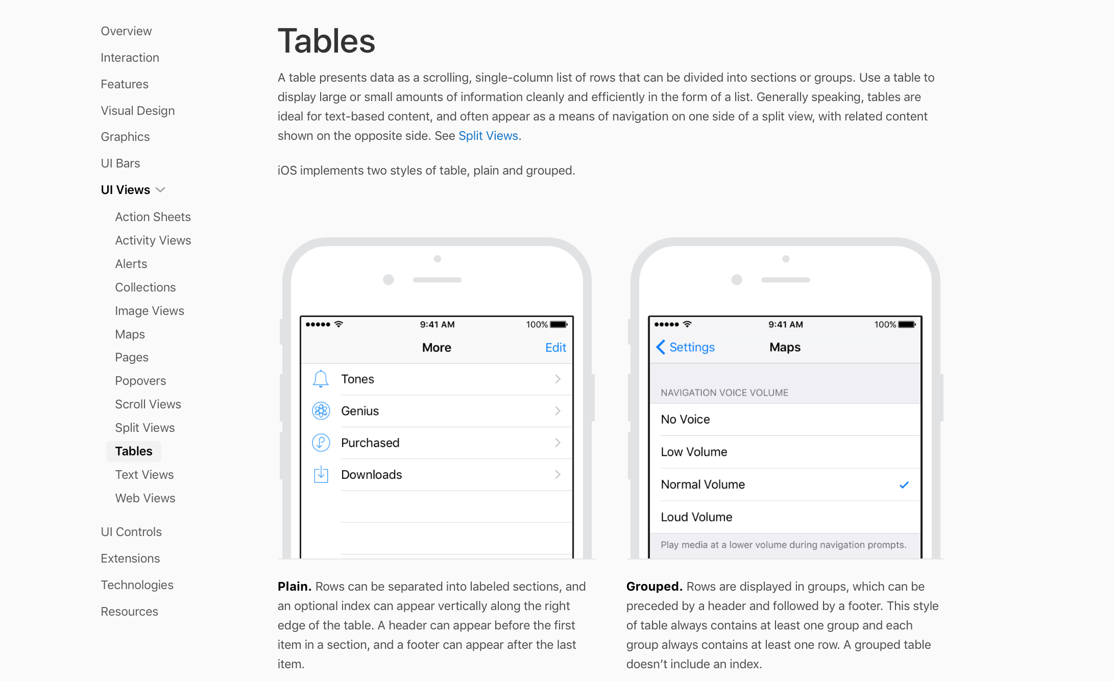table views human interface guidelines