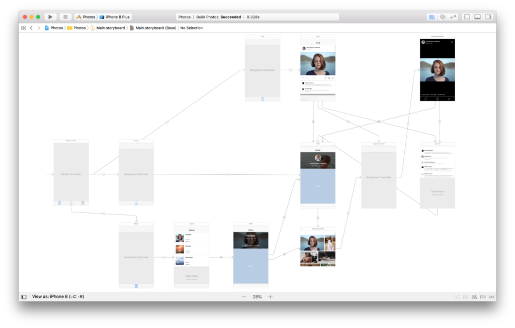 A full Xcode storyboard with view controllers and segues