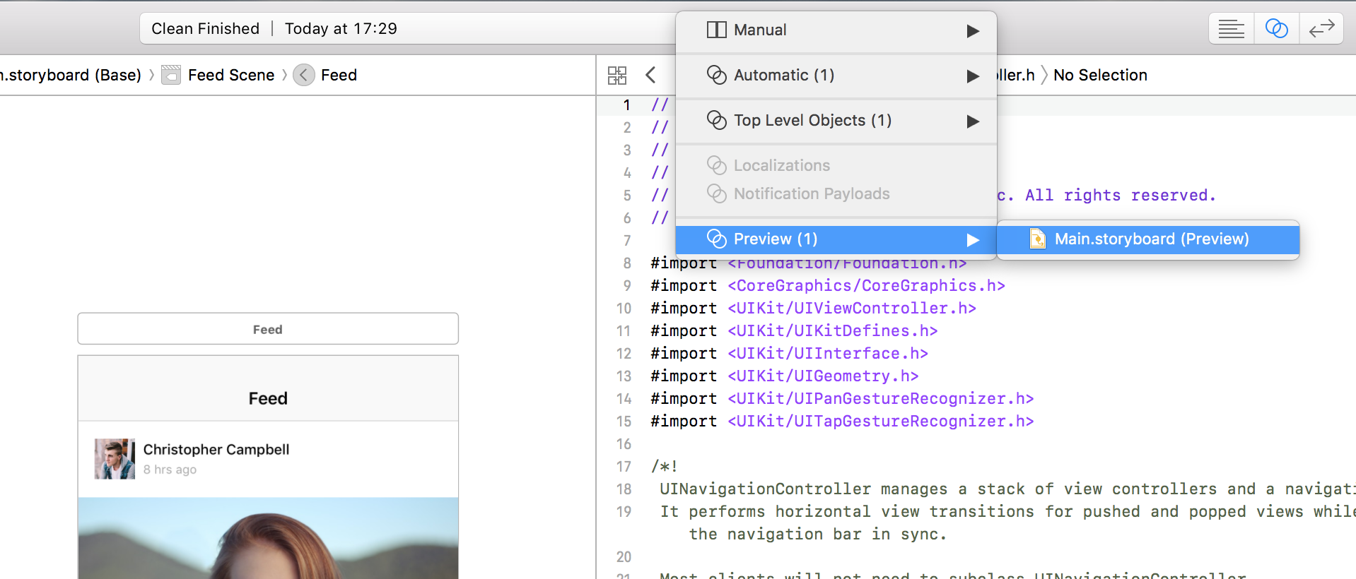 Opening the preview in the Xcode assistant editor in Interface Builder