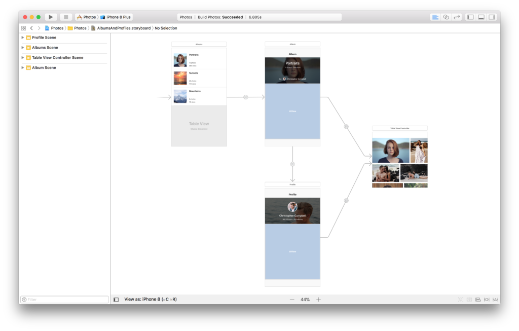 The AlbumsAndProfile storyboard in Xcode