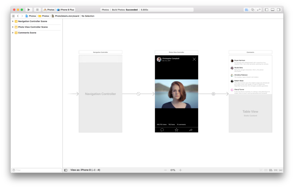 The PhotoDetails storyboard in Xcode