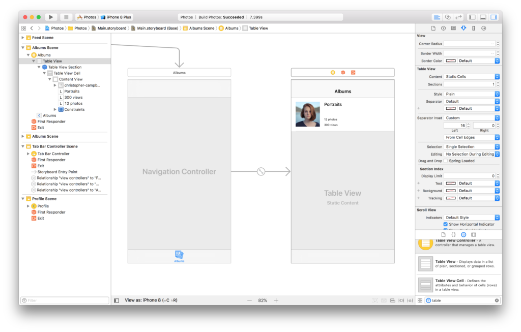 The first cell the static table view in the Xcode storyboard