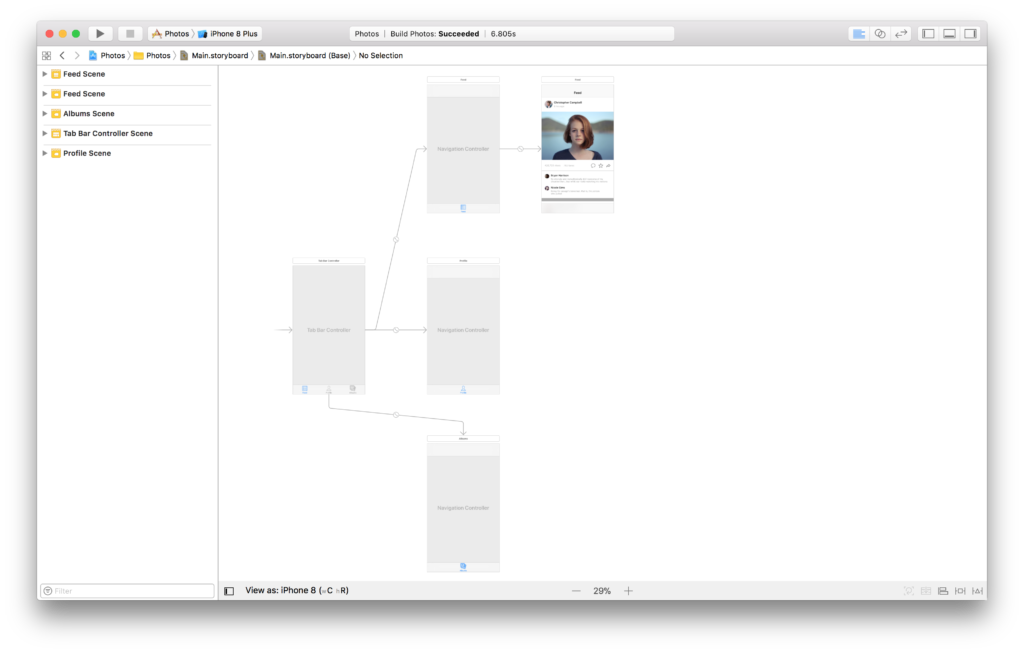 The main storyboard in Xcode