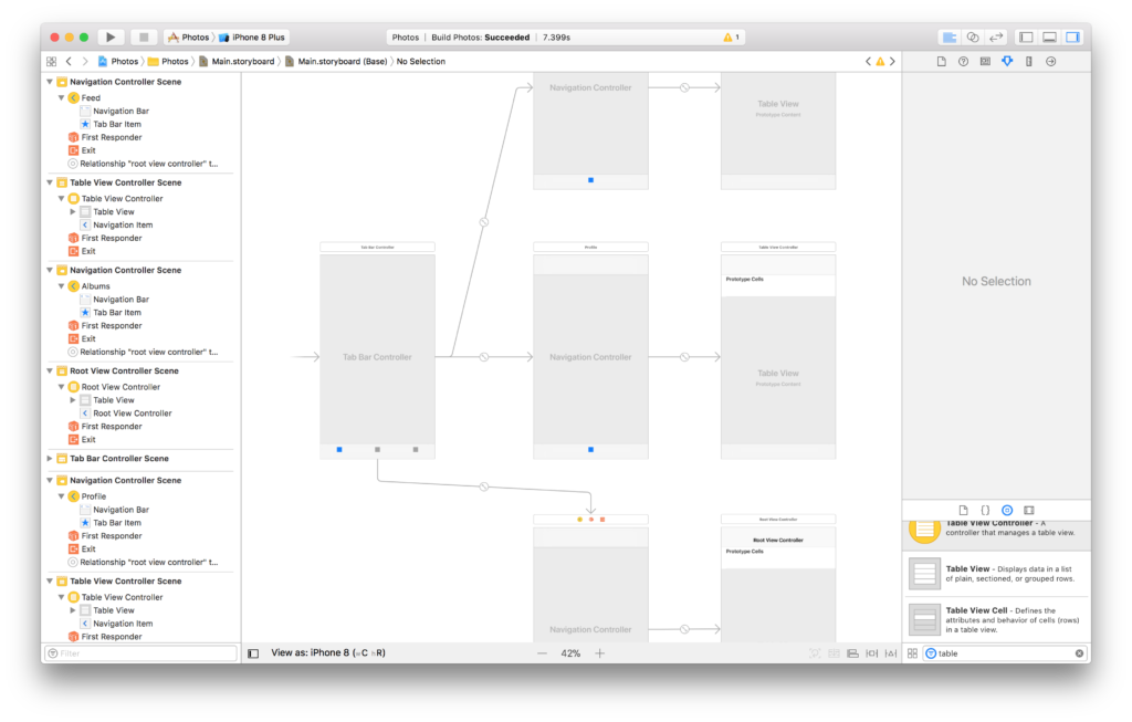 The tab bar controller and navigation controllers in the Xcode storyboard