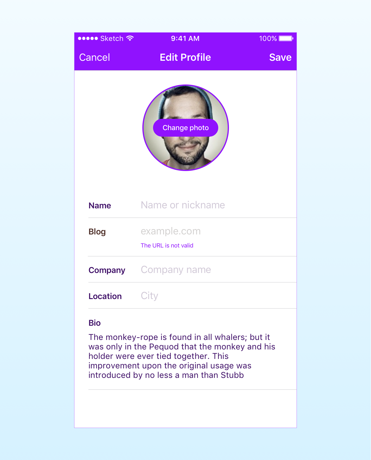 The app's screen to edit the user's profile