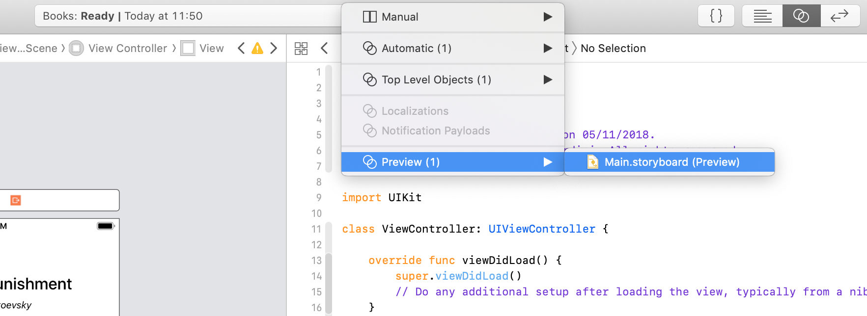 accessing the auto layout preview from the xcode jump bar