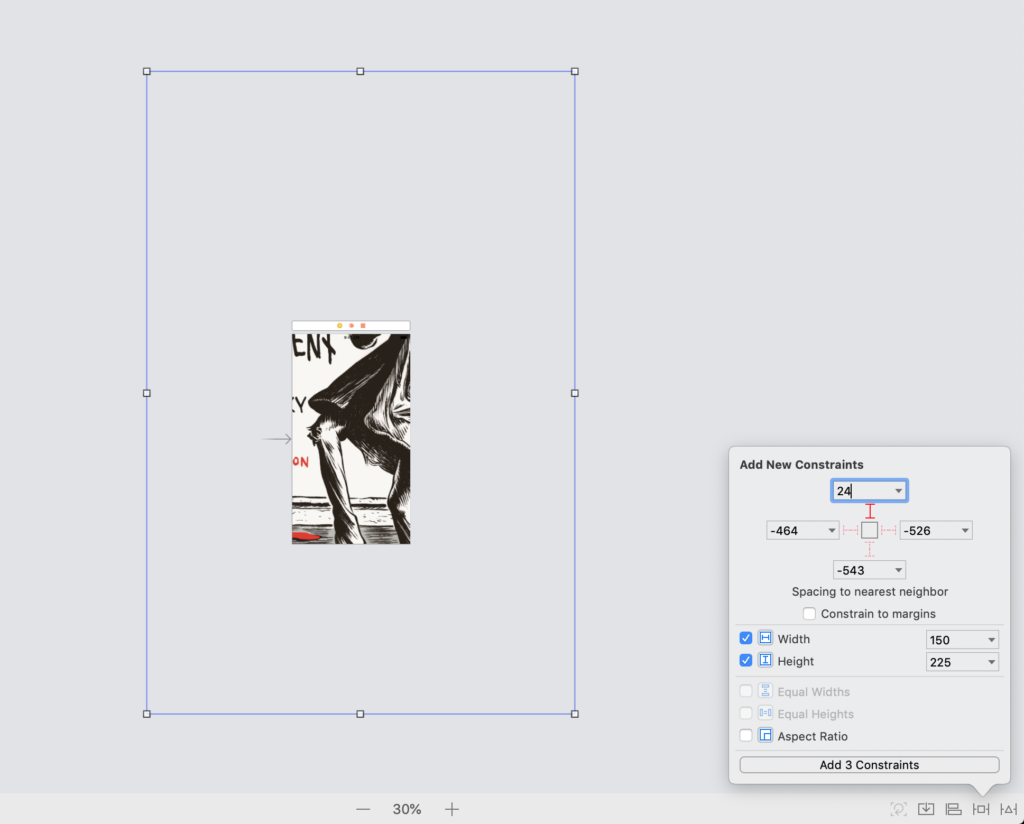 adding constant height and width constraint and pinning the edges of a view