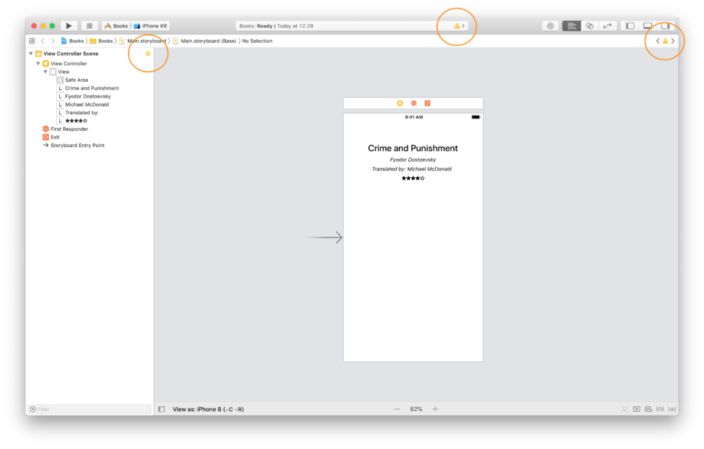 auto layout warnings in xcode