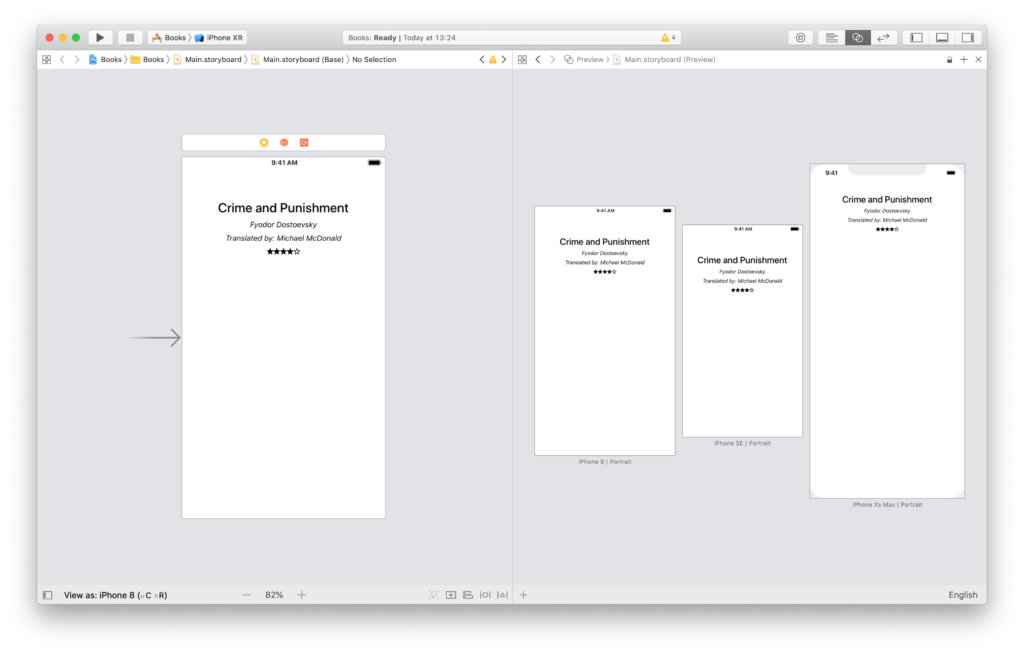 labels centered for any device in the xcode preview