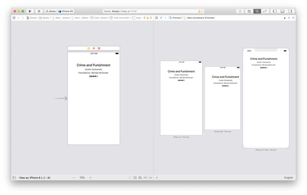 labels not centered in all devices in the xcode preview