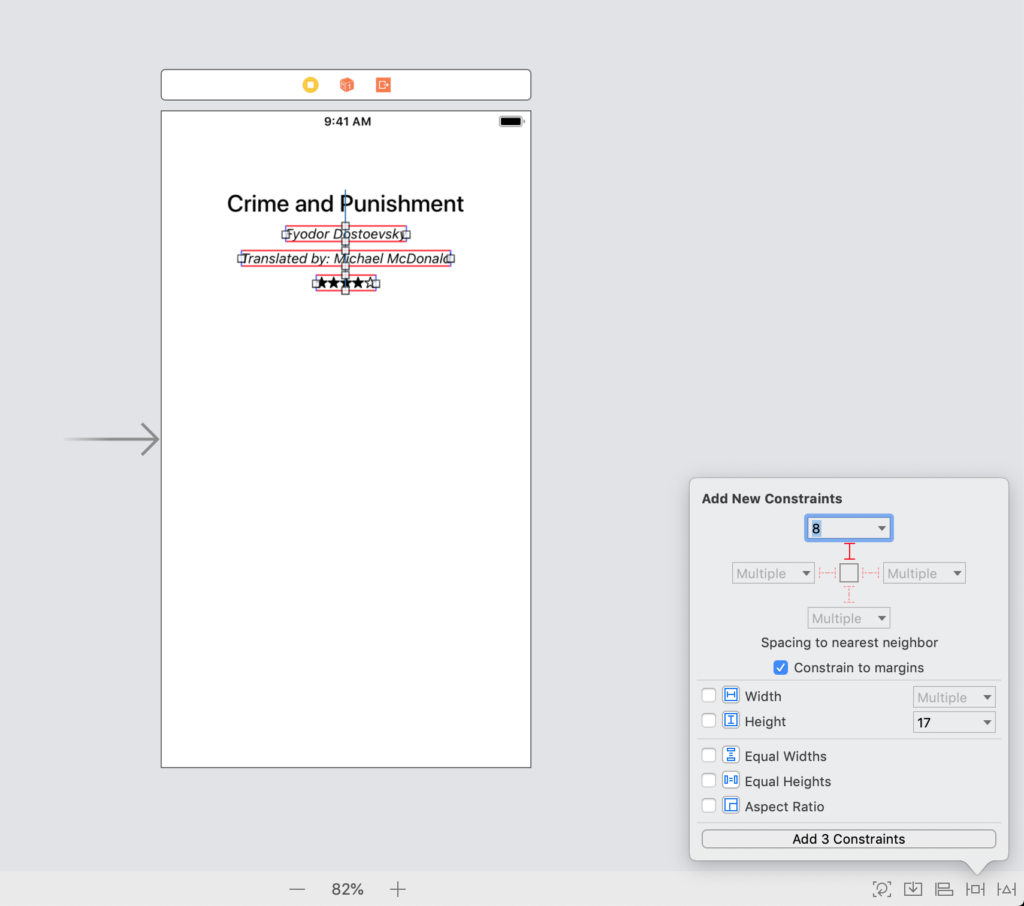 the interface builder add new constraints menu in an xcode storyboard