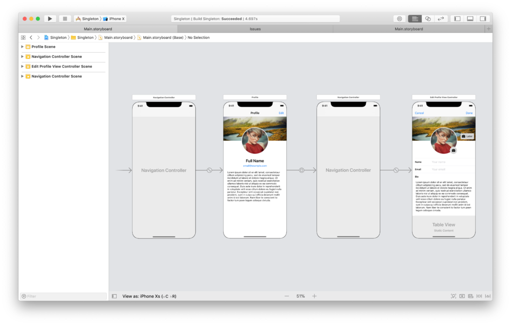 the storyboard for the swift singleton app