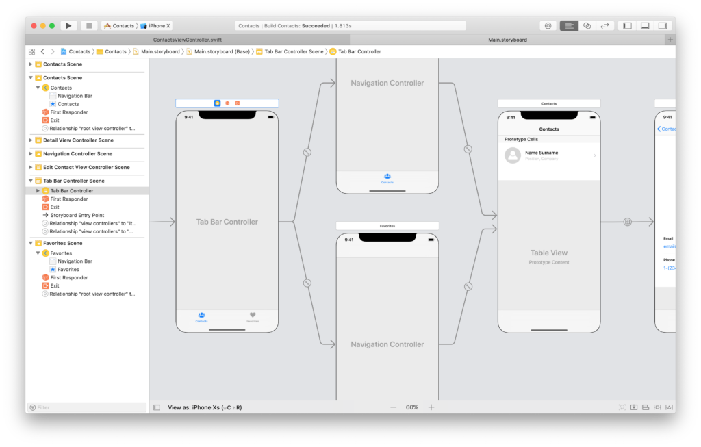 sibling view controllers in a tab bar controller in a storyboard