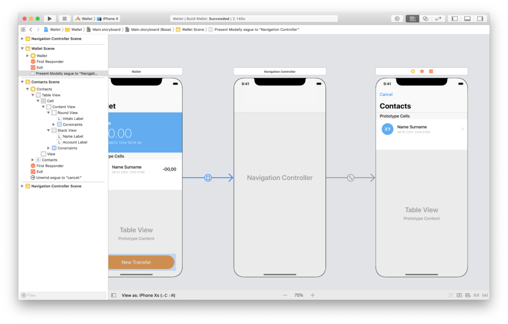the contacts scene in the xcode storyboard