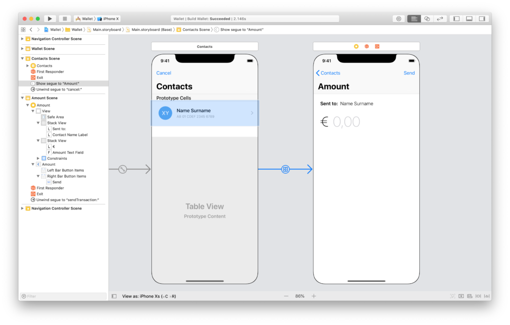 the transaction amount scene in the xcode storyboard