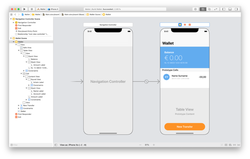 the wallet scene in the xcode storyboardlink