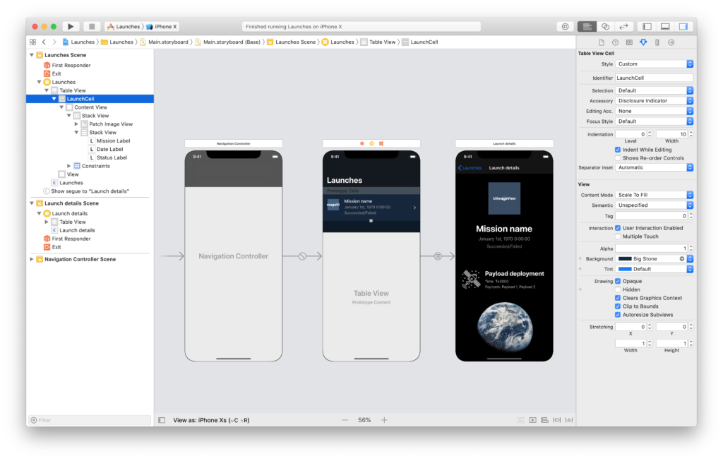 the scene for a list of spacex launches in the xcode storyboard