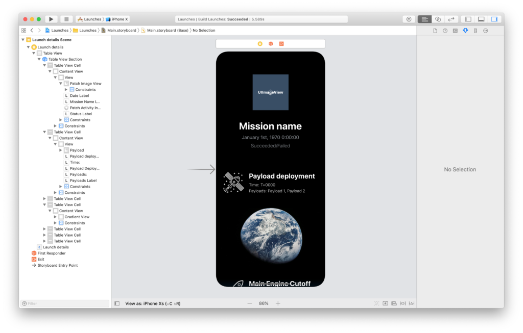 the scene for a spacex launch in the xcode storyboard