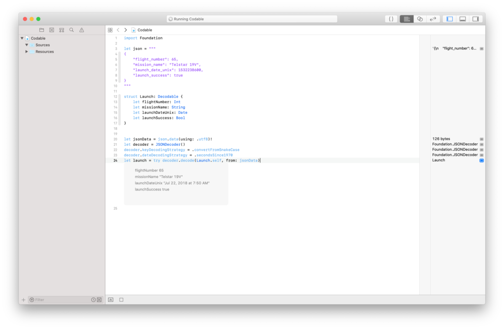 using an xcode playground to test JSON decoding in Swift