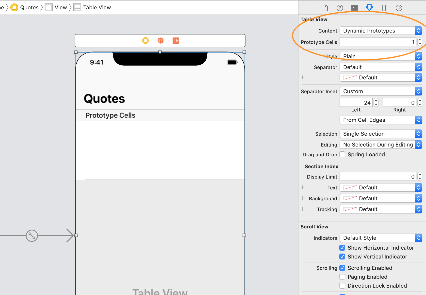 creating cell prototypes for a dynamic uitableview in a storyboard