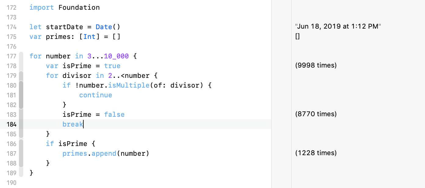 reducing the complexity of a for loop using a break statement