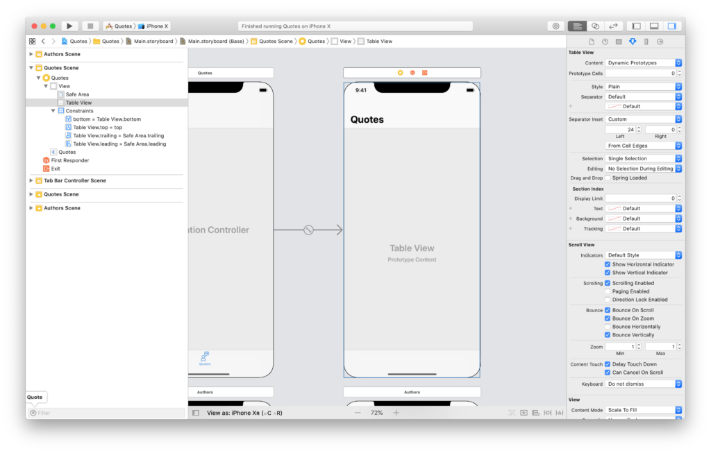 setting a uitableview in a plain view controller scene in interface builder