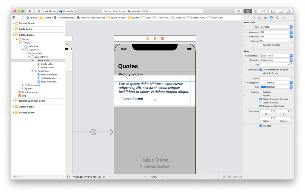 setting the auto layout constraint for an autoresizing cell prototype in interface builder