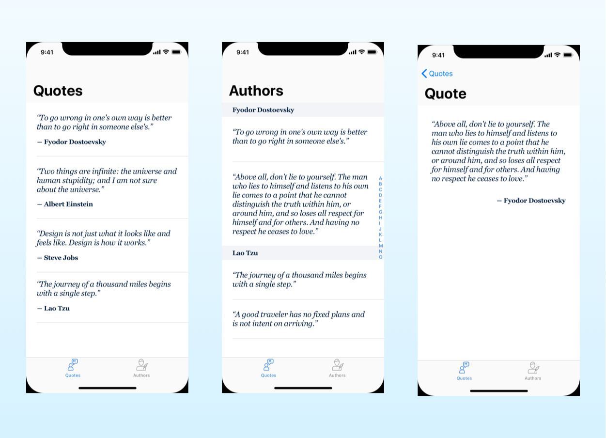 the mockup for the quotes app