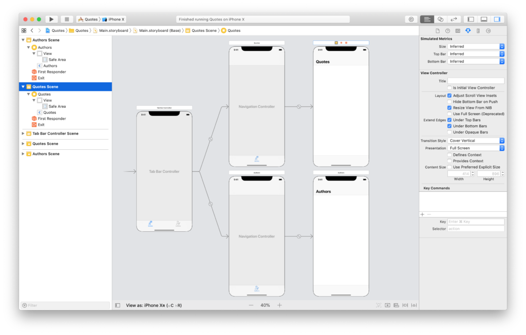 the navigation flow in the storyboard for the quotes app