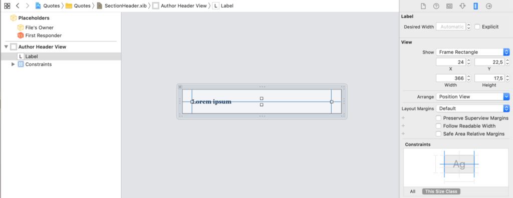 the nib file for a uitableview custom section header