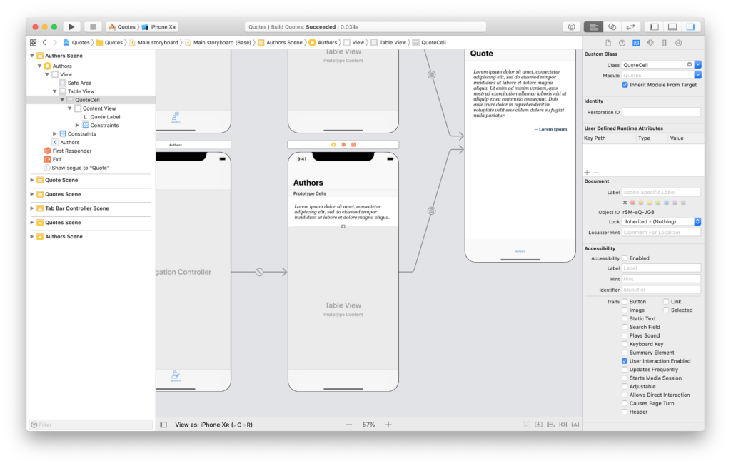 the storyboard scene for a uitableview with sections