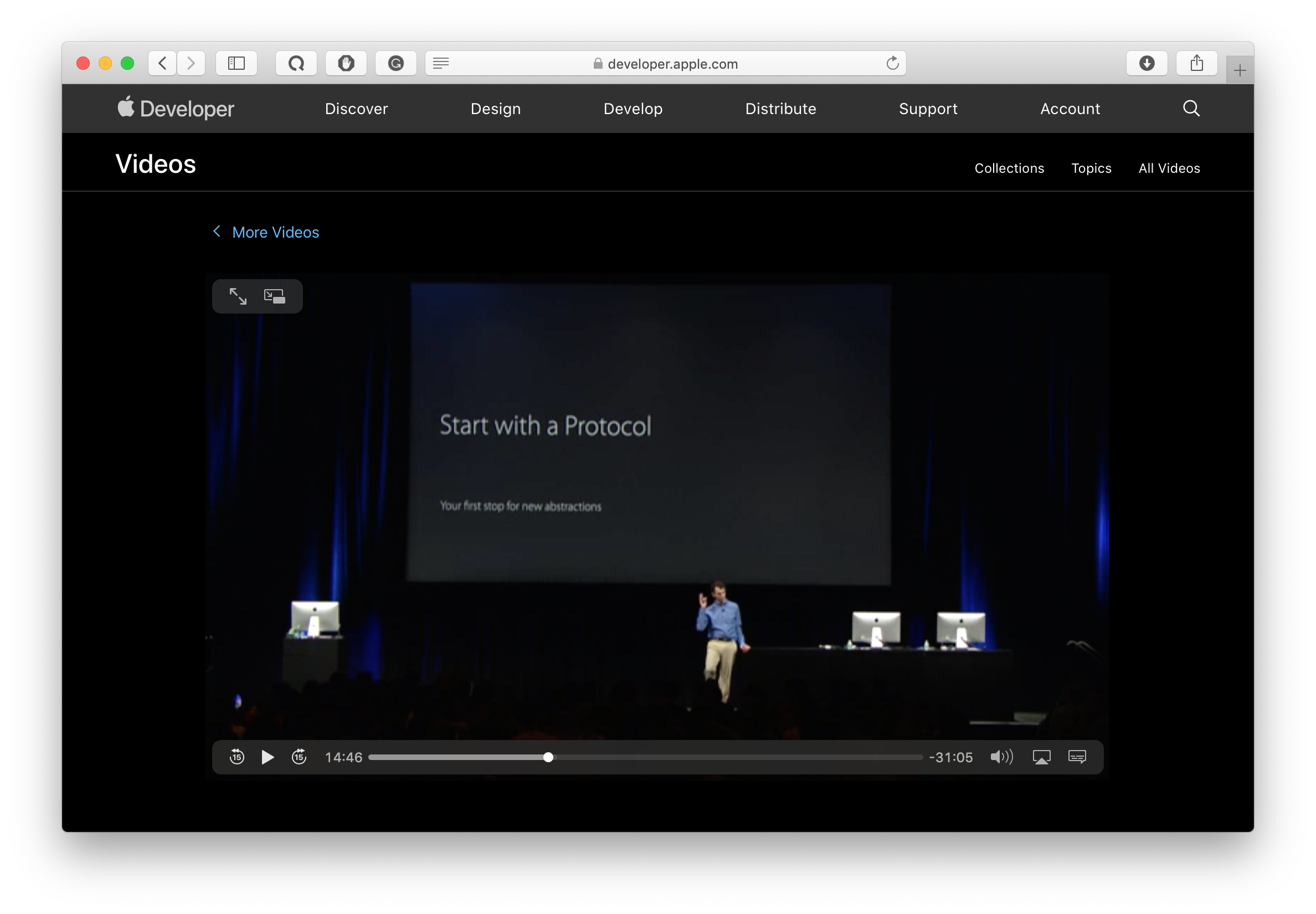 apple recommendation from WWDC 2015 presentation on protocol-oriented programming