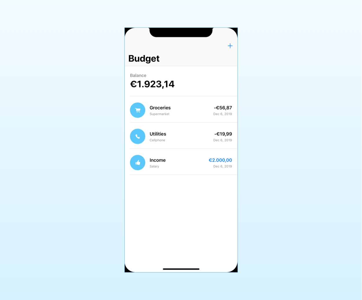 the mockup for the budget screen in the MVC app for SwiftUI