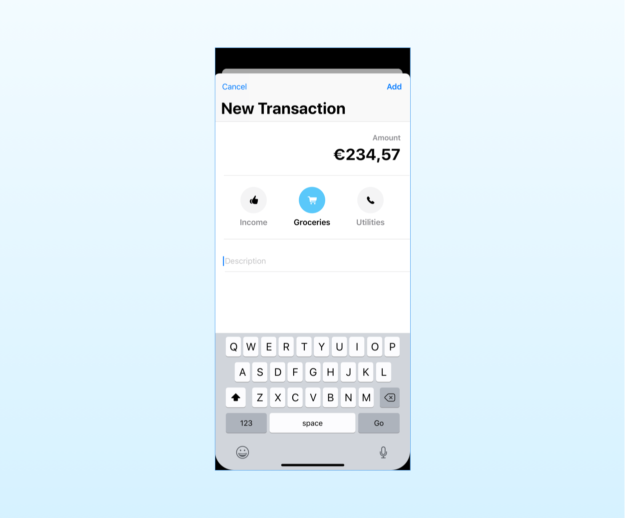 the mockup for the new transaction screen in the SwiftUI sample app for the MVC pattern