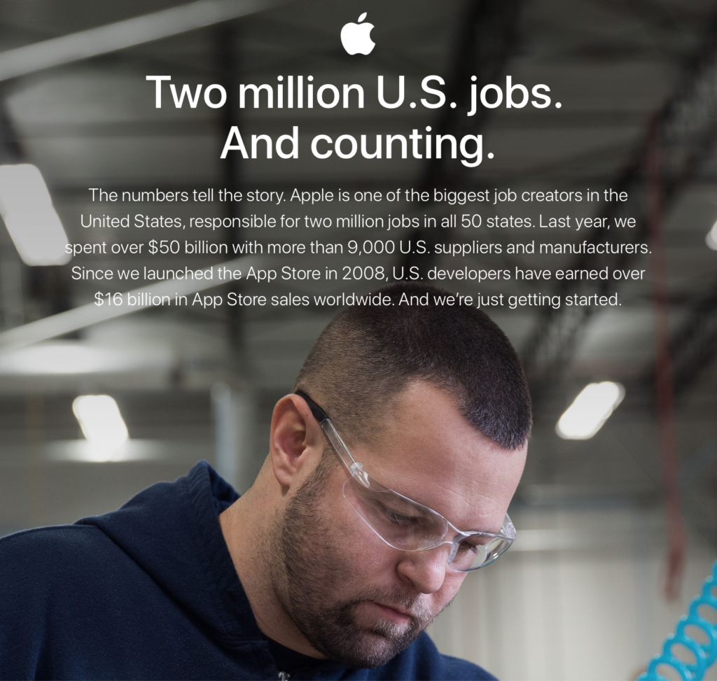 Apple's website talking about jobs