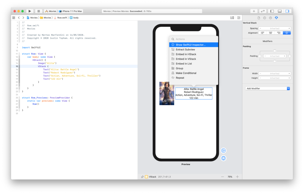 Changing the attributes of SwiftUI view in the inspector