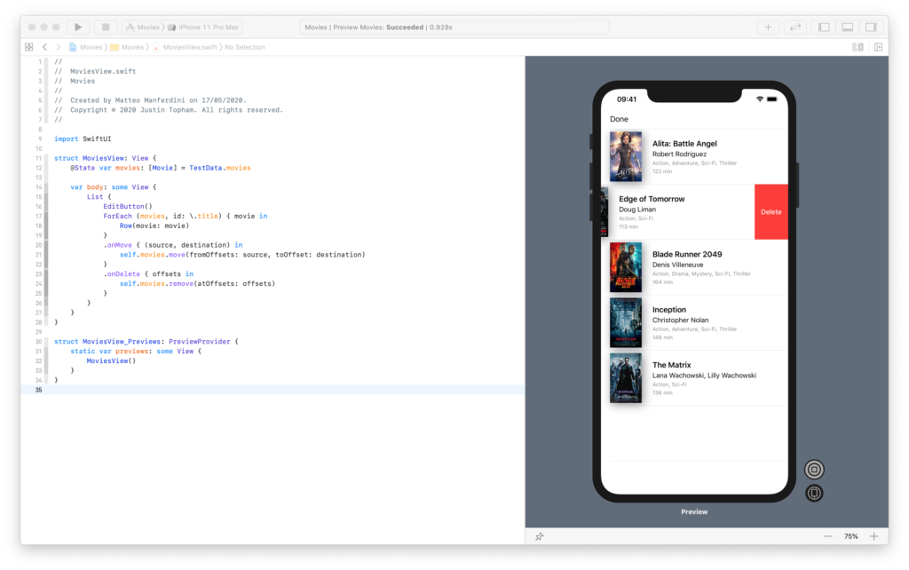 Running a SwiftUI list in the canvas to move and delete rows