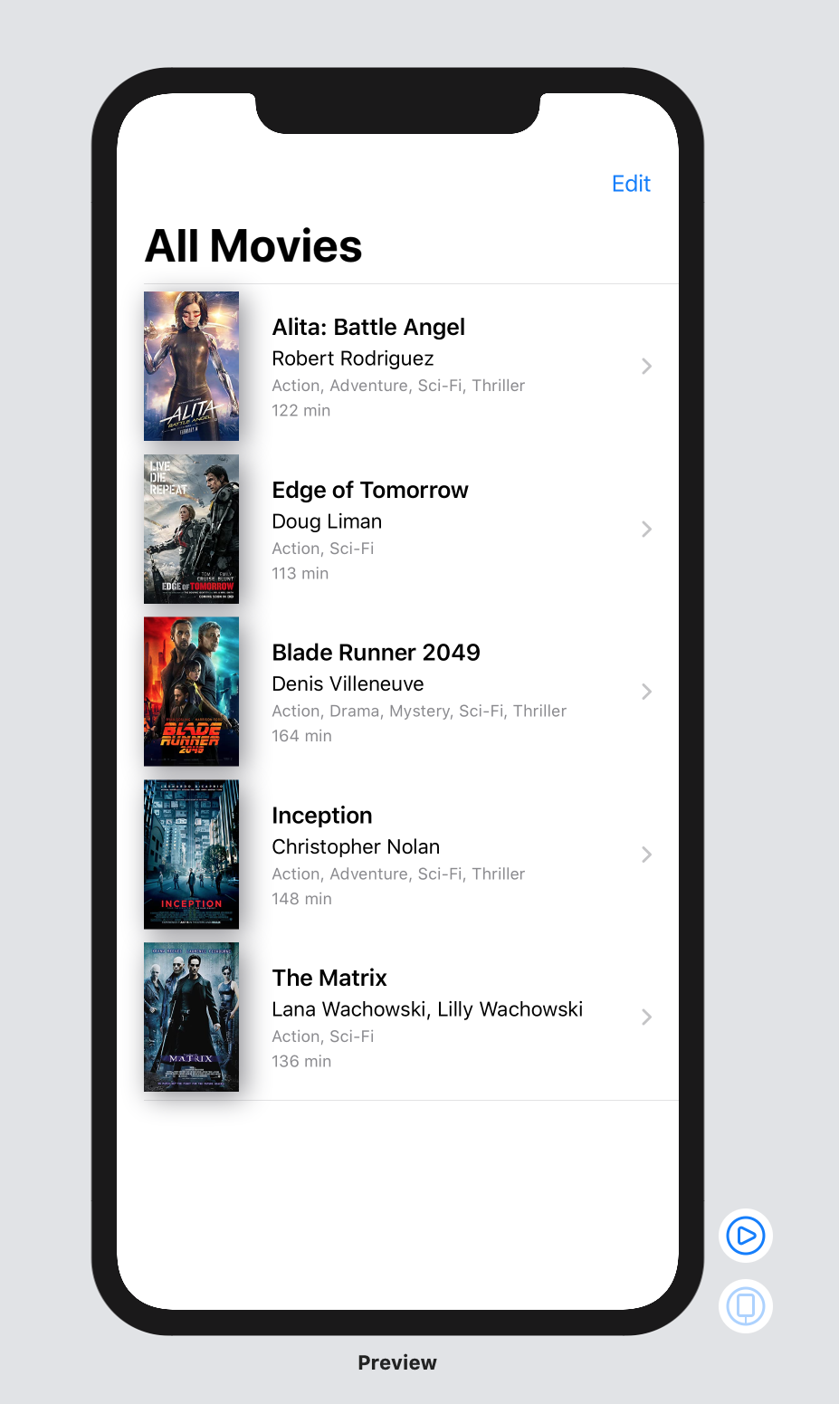 The movies list with a navigation bar at the top