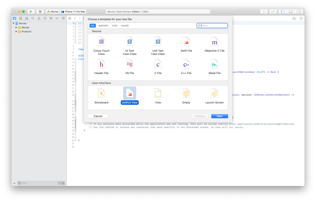creating a new SwiftUI view file in Xcode