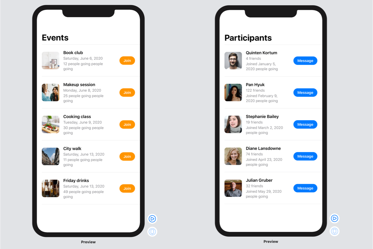 the previews of the generic SwiftUI view using two different types