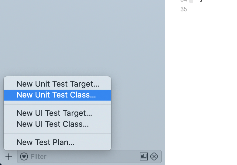 Creating a new test case class in the test navigator of Xcode