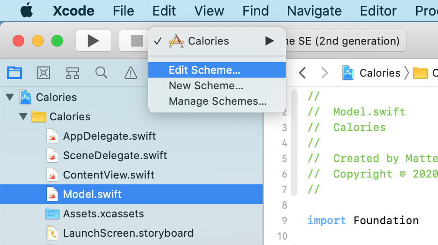 Editing the scheme of an Xcode project