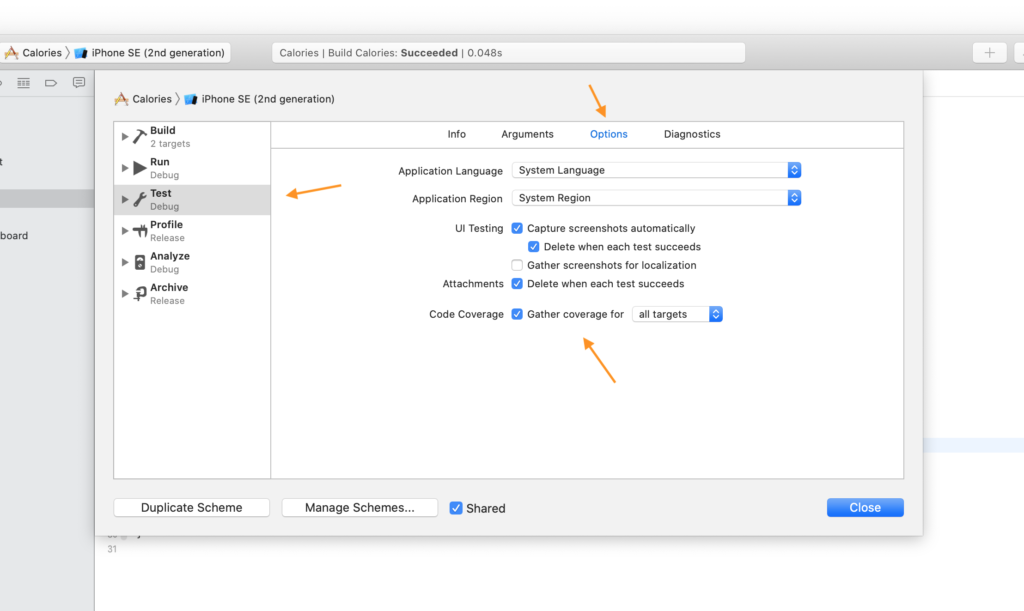 Enable test code coverage in Xcode