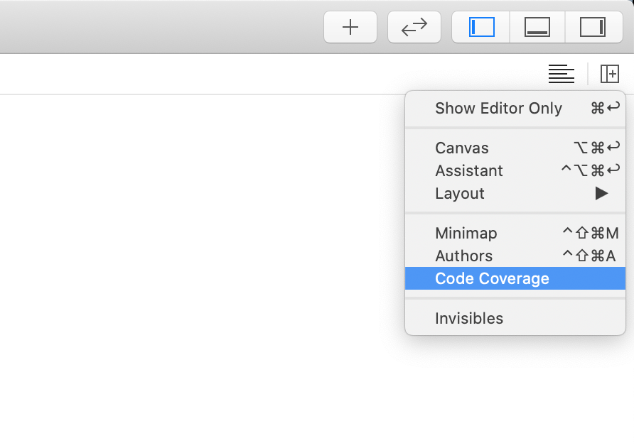 The Xcode adjust editor options menu