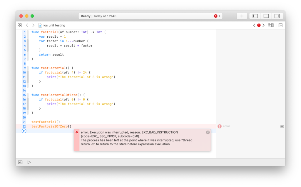 a broken unit test in an Swift playground